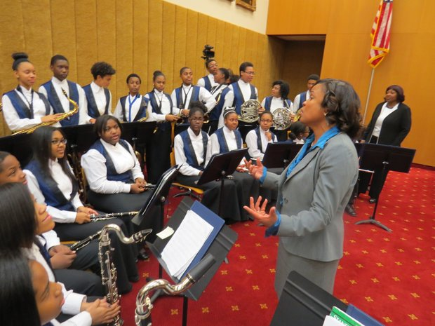 Judge Eleanor Ross addressed members of the Chapel Hill Middle School Symphonic Band during her investiture ceremony.