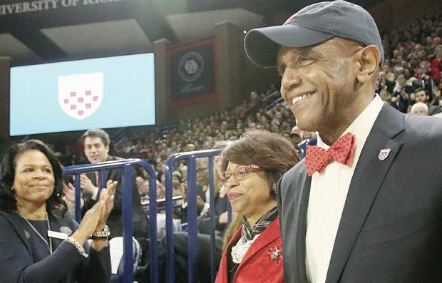 New University of Richmond President Ronald A. Crutcher and his wife, Betty, receive a standing ovation at his welcome ceremony at the Robins Center.