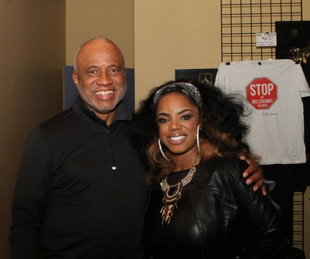 Promoter Fred Jones backstage with Leela James during a crowd-pleasing concert at the Orpheum Theatre on Saturday. (Photo: Warren Roseborough)