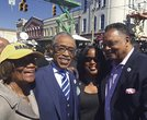 Hazel Duke, president of the NAACP New York State Conference; the Rev. Al Sharpton, founder of the National Action Network; Roslyn Brock, chair of the National Board of Directors for the NAACP; and the Rev. Jesse Jackson, founder and president of the Rainbow PUSH Coalition.