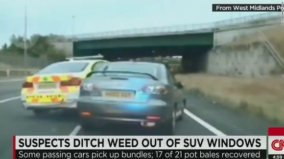 Suspects ditch weed out of windows.