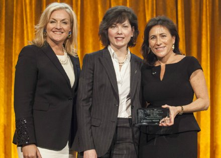 Karyn Twaronite, Partner and EY Global Diversity & Inclusiveness Officer, Ernst & Young, and Marianne Collins, Chief Revenue Officer of SourceMedia, with honoree Hayley Boesky, Vice Chairman of Global Markets, Bank of America Merrill Lynch.