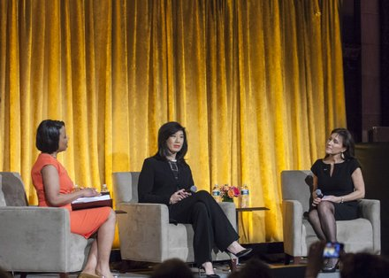 Host Tracie Strahan leads a conversation with 2015 honorees Andrea Jung and Hayley Boesky at United Way of New York City's Power of Women to Make a Difference award luncheon on March 11, 2015, at Cipriani 42nd Street.