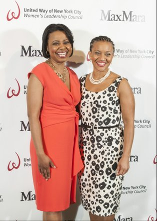 Sheena Wright, President and CEO of United Way of New York City, and host Tracie Strahan, NBC 4 New York reporter, both dressed in Max Mara's Spring 2015 Collection