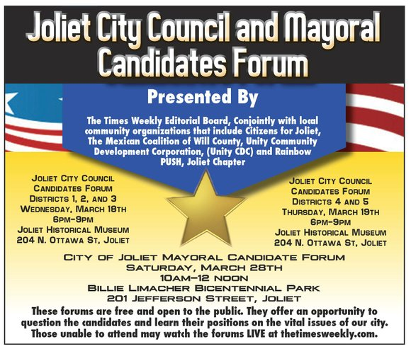 Candidates for Joliet City Council districts 1, 2 and 3 will answer questions on city issues in an event being ...
