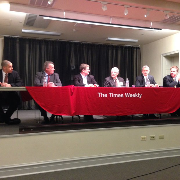 Joliet City Council candidates who participated in The Times Weekly election forum Wednesday night were (from left) Terry Cottrell and Larry Hug from District 1, Brett Gould and Pat Mudron from District 2 and Ray Polikaitis and John Gerl from District 3.