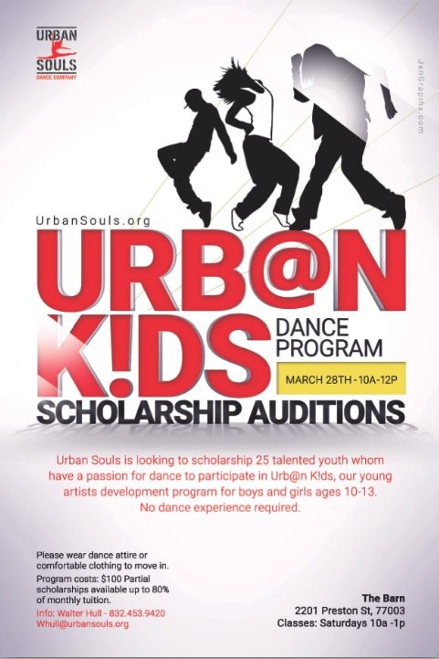 Urban Souls Dance Company is seeking young and energetic boys and girls between the ages of 10-13 to audition for ...