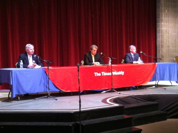 Candidates Tom Giarrante, Bob O'Dekirk and Andy Mihelich laid out their positions during a Saturday forum held by The Times ...
