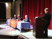 Times Weekly columnist Wayne Horne poses questions Saturday to Joliet mayoral candidates (from left) Andy Mihelich, Mayor Tom Giarrante and Councilman Bob O'Dekirk.