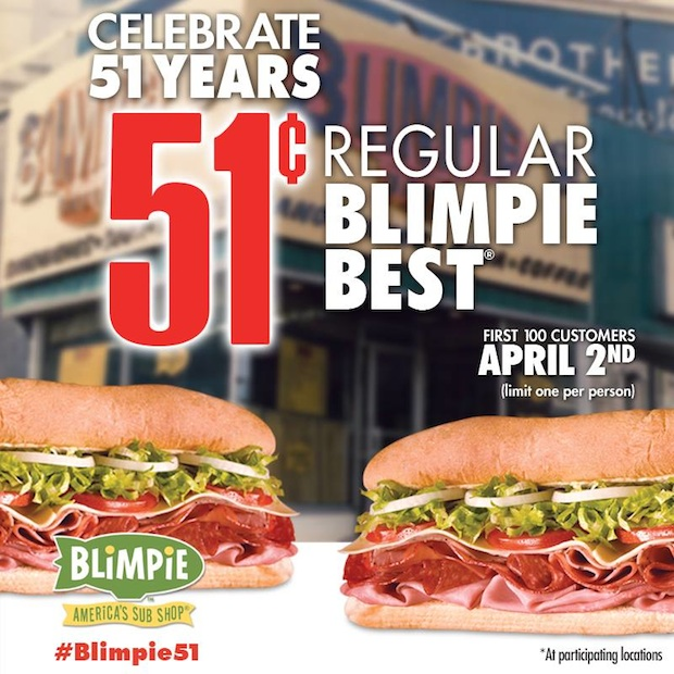 Blimpie Celebrates Its 51st Birthday On April 2nd With 51