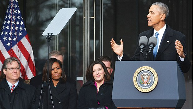 President Barack Obama made stirring remarks at the opening of the Edward M. Kennedy Institute for the United States Senate on March 30. Joining him are (l-r) Ted Kennedy Jr., First Lady Michelle Obama, and, Sen. Kennedy's widow, Victoria Reggie Kennedy. More than 500 people were in attendance including city, state and federal officials.