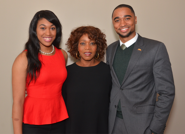 Alfre Woodard, with Sitoria Townsend and Michael Barbour, Black History Month co-chairs, during an event initially scheduled for Black History Month. Inclement weather forced the earlier cancellation.