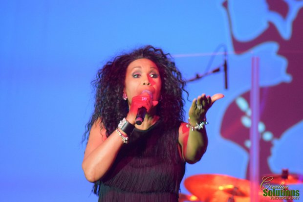 "June Pointer sings ""Jump"" as the legendary Pointer Sisters added the pop beats to the evening."