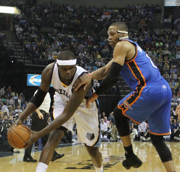 Memphis' Zach Randolph tries to get by Russell Westbrook of OKC.