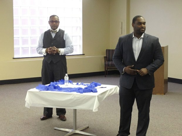 R-L  Glen Fulton, executive director, Greater Englewood CDC and Emile Cambry, Jr., founder & CEO, Blue 1647 discussed the impact of the business development accelerator on the fourth floor of the US Bank building, 815 W. 63rd St., last week.  The accelerator will officially open on May 1.