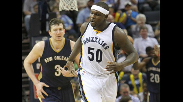 Zach Randolph has that happy feeling as he trots down the court after scoring and putting the Grizzlies up by 30 points.