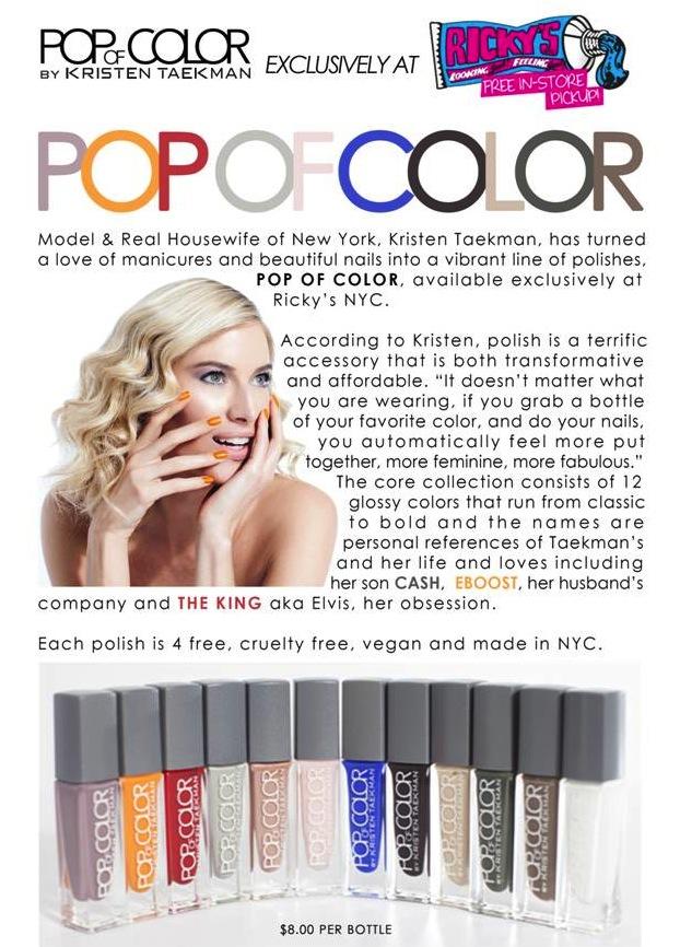 pop of color nail polish collection  kristen taekman x ricky u0026 39 s nyc