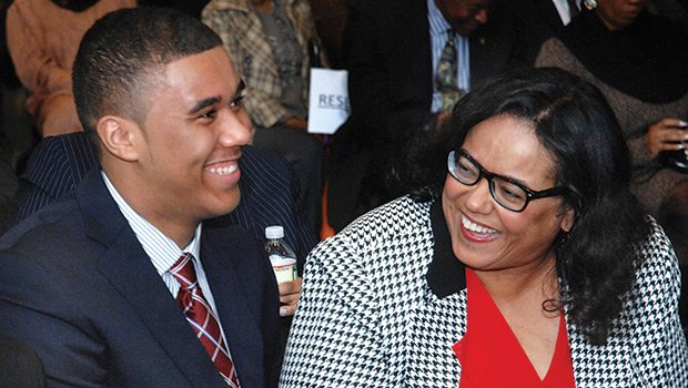 Joyce Ferriabough-Bolling shares a happy moment with her son Bruce C. Bolling Jr, during dedication ceremonies of the Bruce C. Bolling Municipal Building