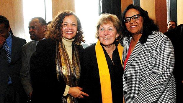 Joyce Ferriabough-Bolling (widow of Bruce Bolling (r)) is joined by (l-r) Deborah Bolling and widow of former Mayor Tom Menino, Angela Menino, at Bruce C. Bolling dedication.