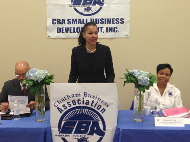 L-R Marino Orlandi, president, Chatham Business Association; Gloria Gayle, vice president of small business services, US Bank and Melinda Kelly, executive director, Chatham Business Association.