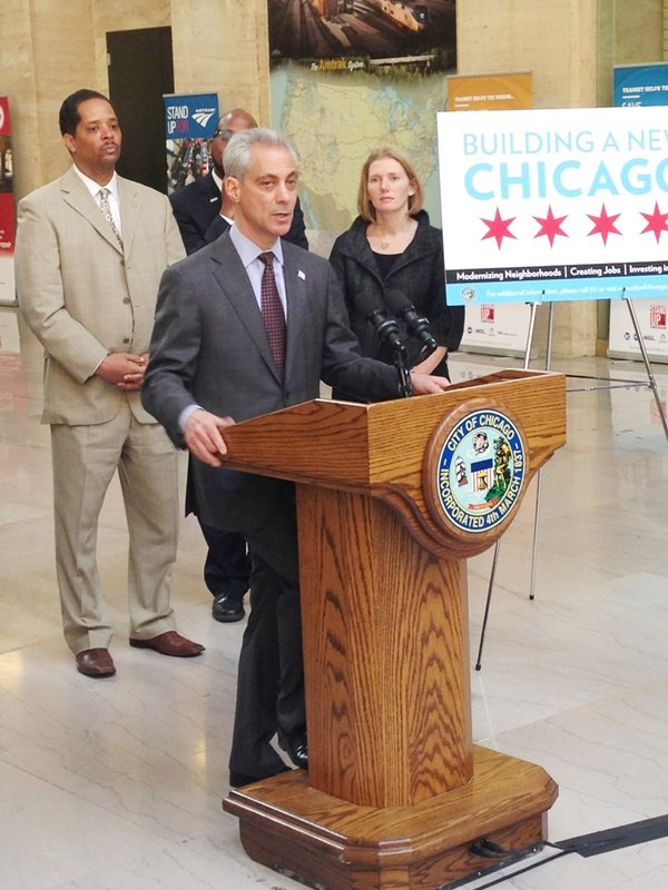 Ald. Anthony Beale (9th Ward), Derrick James, Amtrak Government Affairs, Chicago Mayor Rahm Emanuel (front), and Rebekah Scheinfeld, commissioner, Chicago Department of Transportation.