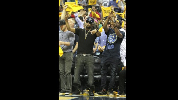 Celebrity citing: Record producer Drumma Boy was at courtside cheering for the Grizzlies. (Photo: Warren Roseborough)