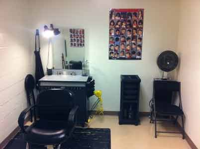 Before Rob's Barbershop Community Foundation completed work at the Phoenix Academy in Annapolis, the space was used as a storage area. It was converted to a barber/beauty salon for students who need grooming services.