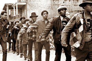 Scene from The Black Panthers: Vanguard of the Revolution, a Firelight Media production written by Stanley Nelson.