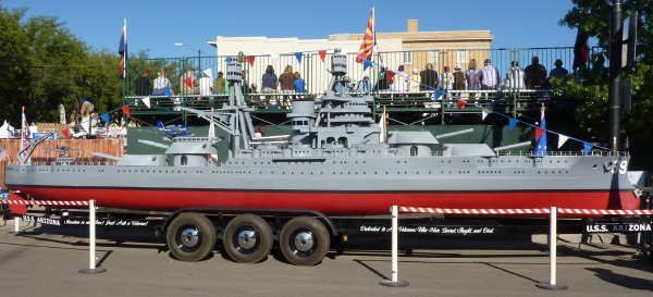 See the USS Arizona replica.