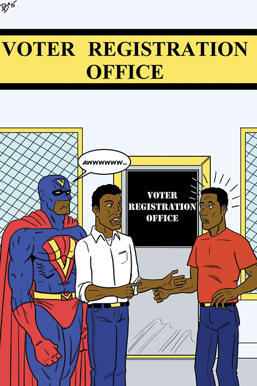 """""""I know it's only necessary to register and vote to be a community hero, but he likes to suit up."""""""