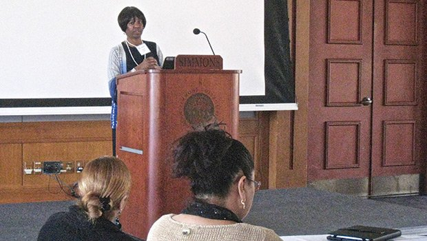 Deborah Hughes, CEO of Brookview House, speaks at an April 24 conference on addressing the needs of school age children experiencing homelessness. The event at Simmons College was co-sponsored by Brookview House and Simmons College School of Social Work.