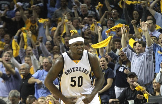 "Memphis strong forward Zach Randolph sports his ""We don't bluff"" face as the Grizzlies secure Game 5 (99-93) and end the first-round series (4-1) against the Portland Trail Blazers."