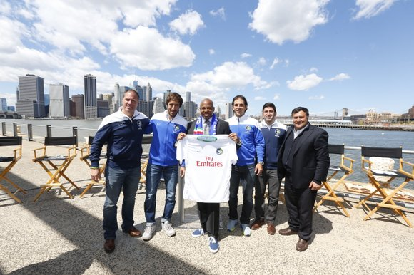 "Brooklyn Borough President Eric L. Adams held a soccer ball ""kick around"" and extended a special Brooklyn welcome to New ..."