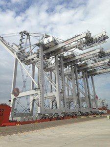 Four new Super Post-Panamax wharf cranes for the Port of Houston Authority's Barbours Cut Container Terminal traveled up the Houston ...