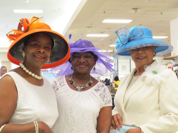 """Macy's """"Hats Off to Mom's Day,"""" featured hat models Helen Corbett, Regina Gregory and Candice Dixon from the Decatur Alumnae Chapter of Delta Sigma Theta Sorority at the Gallery at South DeKalb, May 2, 2015."""