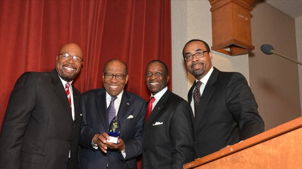 Lifetime Achievement Award winner Clifford Stockton (second from left) creates a BENNY Awards keepsake moment with (l-r) BBA President/CEO Roby S. Williams; Ricky Tucker, BBA director of business services; and Myron Mays, BBA director of communications and development.
