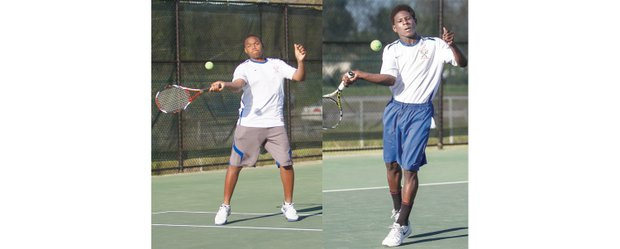 Left, hard-hitting Lamar Richardson of Open High School provides a solid No. 2 singles player at Armstrong and teams with Yusufu Ibrahim to comprise a dominant doubles tandem. Right, smooth-swinging Yusufu Ibrahim of Richmond Community High School plays No. 1 singles and doubles for the Armstrong High School tennis team.