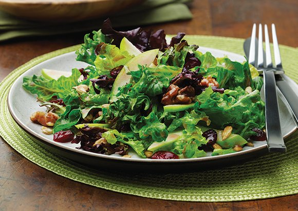This recipe – Autumn Salad – contains walnuts and leafy greens that may reduce the risk of Alzheimer's disease.