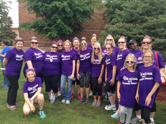 """The Silver Cross team, """"OB Nurses for Preemie Donnas,"""" completed the 3.2-mile walk in Joliet on May 9."""