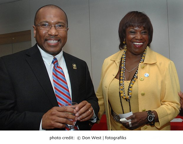 Delaware State University President Harry Williams and alumna Carolyn Golden Hebsgaard enjoy a moment during a Boston fundraiser for the historically black university.