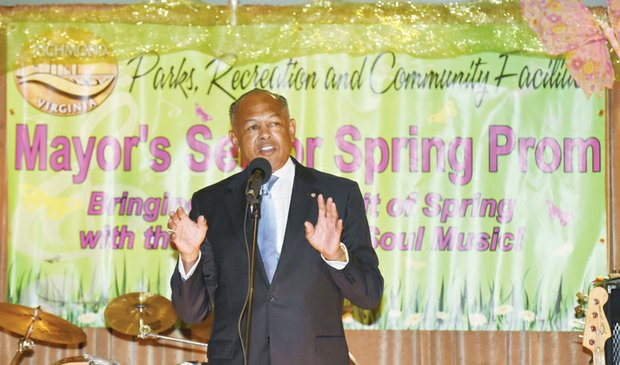 Mayor Dwight C. Jones welcomed the elegantly attired senior citizens who enjoyed food, fun and the music of Glennroy and Company