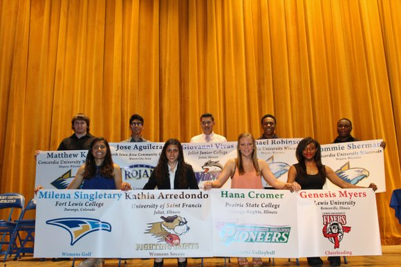 The nine students have committed to a variety of sports, including football, cross-country running and cheerleading.