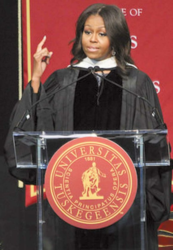First Lady Michelle Obama was the keynote speaker at the graduation ceremony at Tuskegee University last weekend. She urged new ...