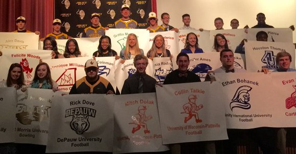 Joliet West honored the 26 students who have committed to play sports at colleges next year.