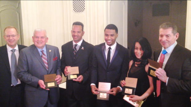 "L-R Jim Clark, president and CEO of Boys & Girls Clubs of America; Larry Young, President and CEO of the Dr Pepper Snapple Group Inc.; Andre Reed, NFL Hall of Famer; Trey Songz, Grammy Award-nominated Singer, Producer/Actor; Monique Mosley, Business Executive and Fashion/Music Consultant for ""Empire"" and Vince McMahon, WWE CEO/Chairman were inducted into the  Boys & Girls Clubs of America Alumni Hall of Fame Class of 2015."