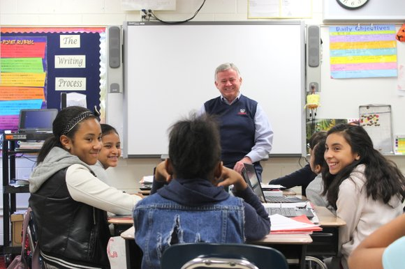 Roger Claar was invited to speak to the fifth-grade class as part of Career Week at B.J. Ward Elementary School.