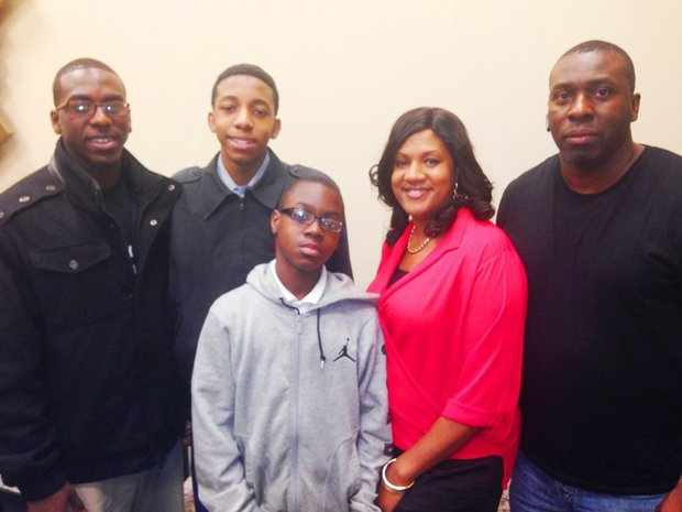 L-R Reginald Hill, Jr., Rashaun Hill, Jamel Hill, Theresa Hill and Reginald Hill, Sr. say that their love for basketball is overshadowed only by their love for God and family.