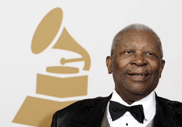 "Blues legend B.B. King in February 2009 after winning a Grammy Award for Best Traditional Blues Album for ""One Kind Favor."""