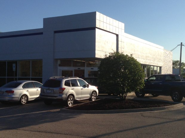 Hawk Subaru, formerly part of the Bill Jacobs franchise chain, will temporarily operate out of the old O'Reilly's Auto Parts store while a new dealership building is constructed on the site west of the building.