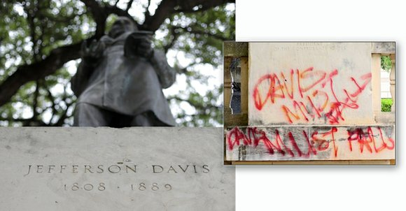 "Protestors have defaced the statue of Jefferson Davis on the University of Texas campus, most recently with the words ""Davis ..."